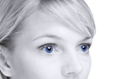 Abstract of blond woman with blue eyes Royalty Free Stock Photos