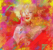Abstract Blonde, Splashed Paint, Modern Digital Art Royalty Free Stock Photos