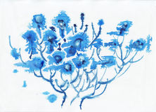 Abstract blue alien watercolor flowers Royalty Free Stock Image