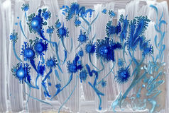 Abstract blue alien watercolor flowers Stock Photography