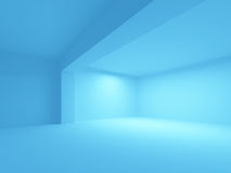 Abstract blue architecture background. Empty 3d interior Royalty Free Stock Images
