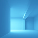 Abstract blue architecture background. Empty 3d interior illustration Stock Photos