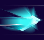 Abstract blue arrow. Luminous, unreal, blue symbol of pointer, on dark blue background Stock Images