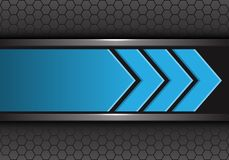 Abstract blue arrow direction on gray hexagon mesh design modern futuristic background vector. Illustration royalty free illustration