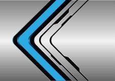 Abstract blue arrow direction on silver black line design modern futuristic technology background vector. Abstract blue arrow direction on silver black line vector illustration