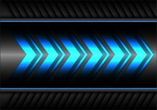 Abstract blue arrow light power speed on gray metal design modern futuristic background vector. Illustration Royalty Free Stock Images