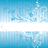 Abstract blue background. Vector illustrated abstract blue background with decorative floral swirls and place for your text Royalty Free Stock Photo