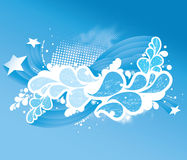Abstract blue background. An abstract blue and white background with stars and flowing shapes Stock Photos