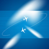 Abstract  blue background. Blue background of flying planes Royalty Free Stock Photos