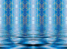 Abstract blue background. With patterns and ripples Stock Image