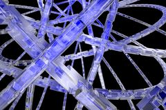 Abstract blue background. Frozen 3D blue gears available for background Stock Photography