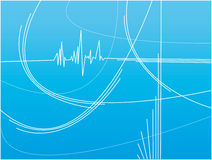Abstract blue background. With white lines and heartbeat effect Royalty Free Stock Photo