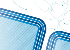 Abstract Blue Background. An illustrated blue background with an abstract design of curving stripes and other shapes Royalty Free Stock Images