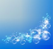 Abstract blue background. Air bubbles. Vector. Stock Photo
