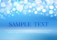 Abstract blue background with bokeh lights. And space for text, vector illustration Royalty Free Stock Photo