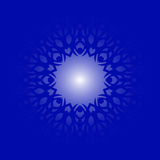 Abstract blue background with bright light inside the ornament Royalty Free Stock Photo