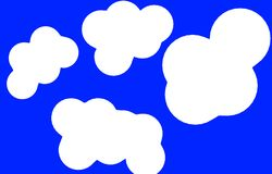 Abstract Blue Background Cartoon White Cloud. Abstract Cartoon white cloud in clean blue background. free white clouds  illustration image Royalty Free Stock Photos