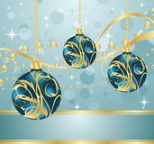 Abstract blue background with Christmas balls Royalty Free Stock Photos
