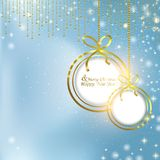 Abstract blue background with Christmas balls and glare. Abstract background with Christmas balls and glitter stock illustration