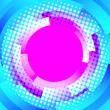 Abstract blue background with circles and pink dot Stock Photo