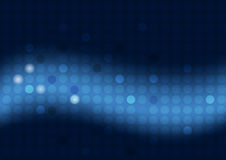 Abstract blue background with circles and wide blurry light stripe Royalty Free Stock Image