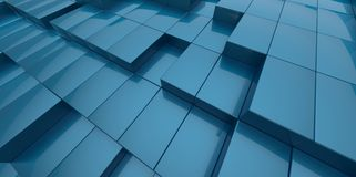 Abstract blue background of 3d blocks. Place royalty free illustration