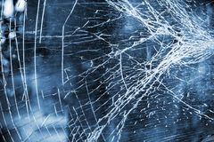 Abstract blue background with dirty broken glass Royalty Free Stock Photos