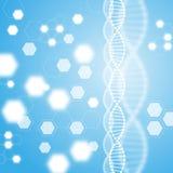 Abstract blue background, DNA molecule. Screensaver Hexagons. vector illustration