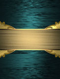 Abstract blue background with an elegant gold plate. Template for design. copy space for ad brochure or announcement invitation Stock Photos