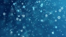 Abstract blue background with falling glittering bokeh lights and Jewish stars. HD Israeli animation for Jewish holidays stock footage