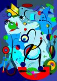 Abstract blue background ,fancy geometric and curved shapes , surrealism art style 18-56. Abstract colorful composition , fancy geometric and curved shapes blue royalty free illustration