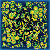 Abstract blue background with floral ornament Stock Photography