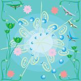 Abstract blue background with flowers Royalty Free Stock Photography