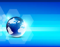 Abstract blue background with globe Royalty Free Stock Photography