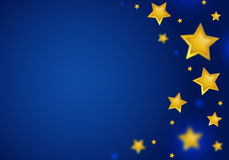 Abstract Blue Background with Gold  Stars Border Stock Photos