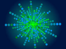 Abstract blue background. Green particle form Royalty Free Stock Photography