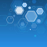 Abstract blue background hexagon. Vector illustration Stock Photography