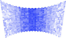 Abstract blue background of hexagons in the form of a concave surface. Royalty Free Stock Photography