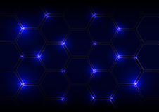 Abstract blue background with hexagons and light Stock Image