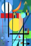 Abstract   blue  background ,inspired by the  painter kandinsky Stock Images