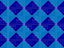 Abstract blue background with lines. Blue ornament consisting of lines and squares, seamless, shape, volume, background Stock Illustration