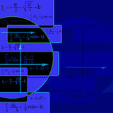 Abstract blue background with mathematical formula Royalty Free Stock Photos