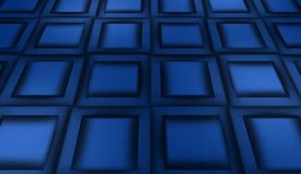 Abstract blue background, metal panels. Blue background of a wall made of metal plates, panels, distortion of space Stock Images