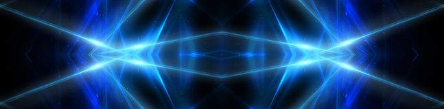 Abstract blue background with neon rays, flashes of light, faces, lines. stock illustration