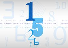 Blue background with numbers, code and spiral lines. Vector. Abstract blue background with numbers, code and spiral lines. Vector Royalty Free Stock Photo