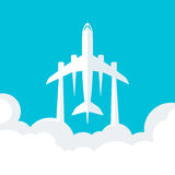 Abstract blue background with plane Stock Photos