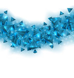 Abstract Blue Background with Pyramids and Light Effects Stock Photo