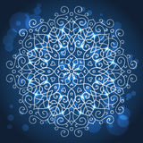 Abstract blue background with a round mandala ornament, sparkles Royalty Free Stock Photos