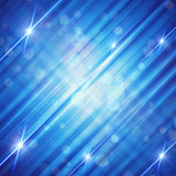 Abstract blue background with shining lines and stars Stock Image