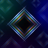 Abstract blue background with shining multicolored squares Royalty Free Stock Images